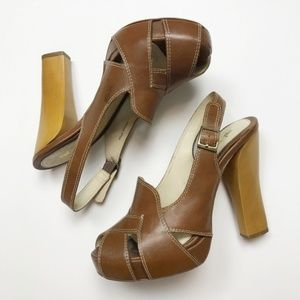 L.A.M.B Brown Leather Wooden PeepToe Heels 7